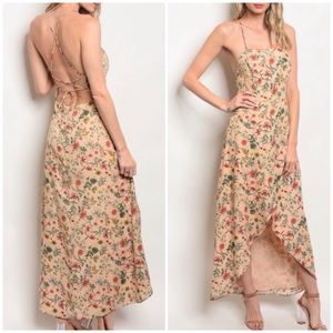 ☀️NUDE FLORAL MAXI HIGH LOW DRESS